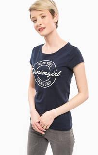 Синяя хлопковая футболка с принтом Tom Tailor Denim