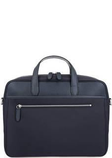 Синяя текстильная сумка с кожаными вставками Cerruti 1881