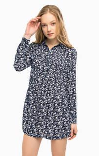 Короткое платье из вискозы с цветочным принтом D&S Ralph Lauren
