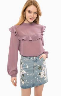 Блуза сиреневого цвета с длинными рукавами Glamorous