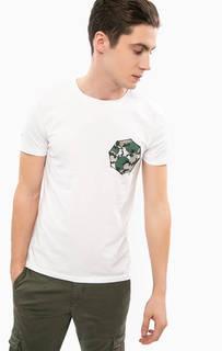 Белая хлопковая футболка с принтом Liu Jo Uomo
