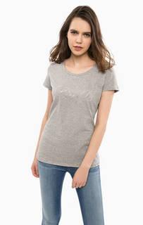 Серая футболка с отделкой стразами Liu Jo