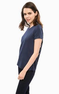 Хлопковая футболка с кружевной спинкой Liu Jo