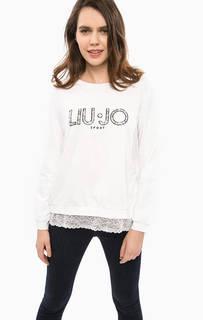 Свитшот с вышивкой и кружевной отделкой Liu Jo Sport