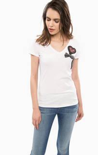 Хлопковая футболка с нашивками Liu Jo