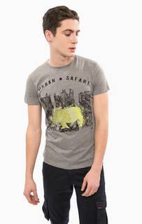 Серая хлопковая футболка с принтом Liu Jo Uomo