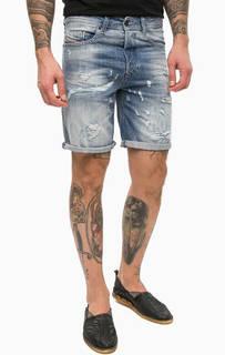 Короткие джинсовые шорты с потертостями Diesel