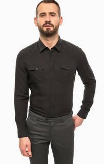 Черная рубашка с длинными рукавами и карманами Drykorn