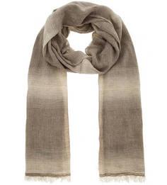 Бежево-серый льняной шарф Kocca