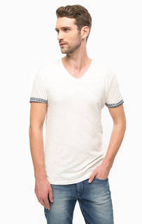 Белая футболка с треугольным вырезом Tom Tailor Denim