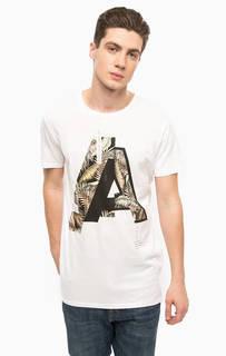 Хлопковая футболка с контрастным принтом Alcott
