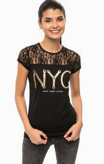 Черная футболка с кружевом Alcott