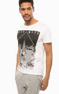 Белая хлопковая футболка с круглым вырезом Alcott