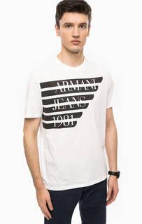 Белая футболка с контрастным принтом Armani Jeans