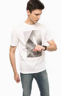 Белая хлопковая футболка с принтом Armani Jeans