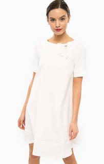 Короткое белое платье расклешенного силуэта Pois