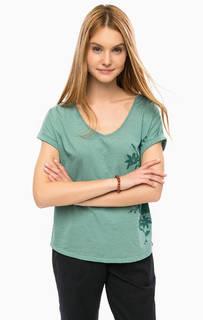 Хлопковая футболка с цветочным принтом Luhta