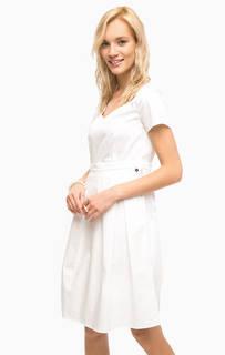Белое хлопковое платье с карманами на молнии Pennyblack