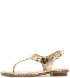 Золотистые сандалии с металлической отделкой Michael Michael Kors