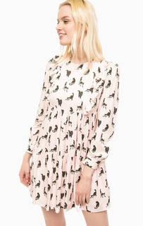 Розовое платье с ярусной юбкой Paul & Joe Sister