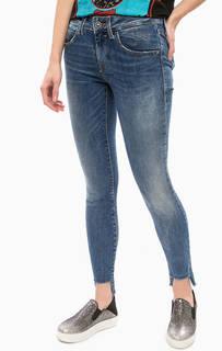 Синие джинсы с заломами Fornarina