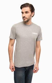 Серая хлопковая футболка с принтом Carhartt WIP