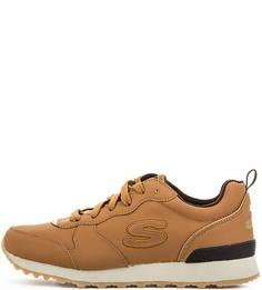 Коричневые кожаные кроссовки на шнурках Skechers