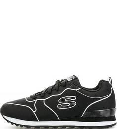 Черные текстильные кроссовки на шнурках Skechers