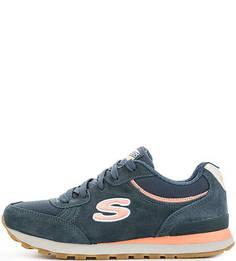 Синие кроссовки на шнурках Skechers
