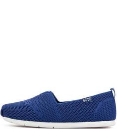 Синие текстильные слипоны Skechers
