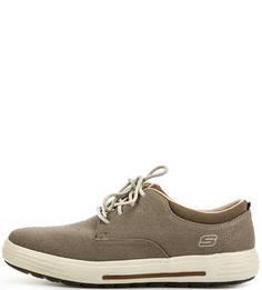 Коричневые кеды на шнурках Skechers