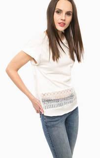 Белая футболка с ажурной вставкой Desigual