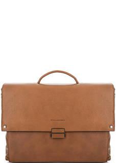 Коричневый кожаный портфель Piquadro