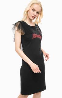 Черное платье средней длины с сетчатыми вставками Fornarina