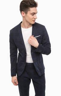 Темно-синий хлопковый пиджак в клетку Cinque