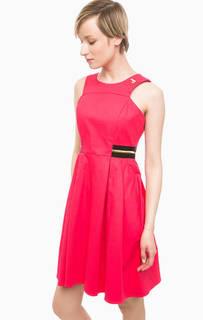 Приталенное платье из хлопка цвета фуксии Pois