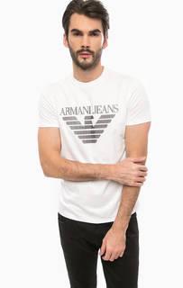 Белая хлопковая футболка с круглым вырезом Armani Jeans