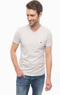 Серая футболка с треугольным вырезом Lacoste
