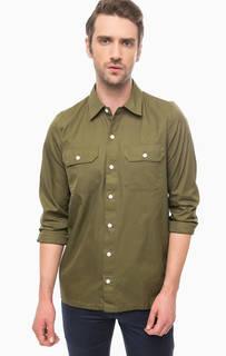 Хлопковая рубашка цвета хаки Carhartt WIP