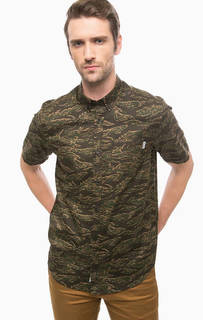 Хлопковая рубашка с камуфляжным принтом Carhartt WIP