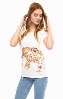 Хлопковая футболка с контрастным принтом Desigual