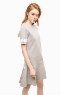 Серое платье с короткими рукавами Hilfiger Denim