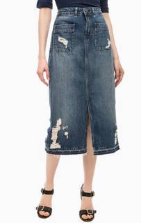 Рваная джинсовая юбка с разрезом Hilfiger Denim