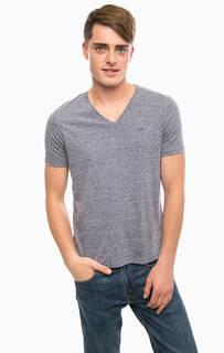 Трикотажная футболка с треугольным вырезом Hilfiger Denim