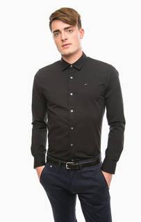 Черная приталенная рубашка из хлопка Hilfiger Denim