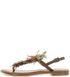Кожаные сандалии с текстильной вставкой Inuovo