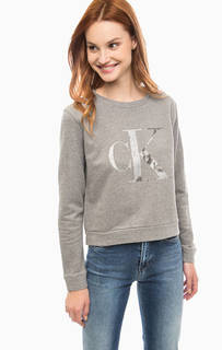 Хлопковый свитшот с логотипом бренда Calvin Klein Jeans