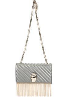 Серебристая кожаная сумка с откидным клапаном Cavalli Class
