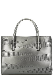 Серебристая кожаная сумка на молнии Cavalli Class