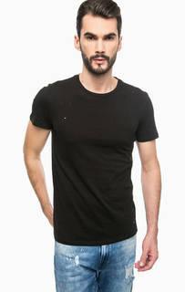 Черная футболка с рваными деталями Guess